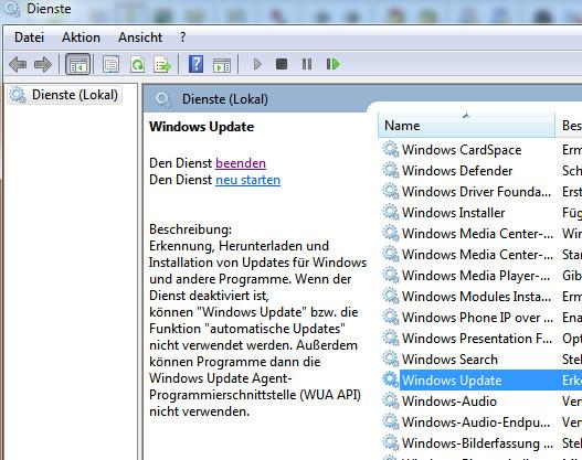 windows 7 update dienst starten