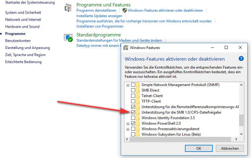 Unterstützung für die SMB 1.0/CIFS-Dateifreigabe